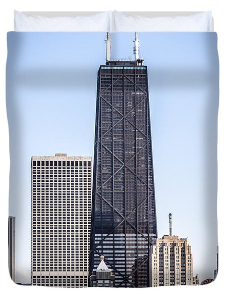 Chicago At Night With John Hancock Building Duvet Cover by Paul Velgos