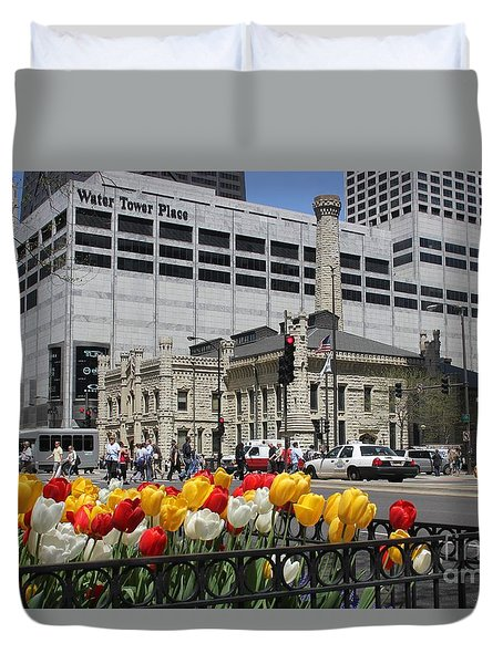 Chicago At Spring Time Duvet Cover