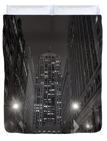 Chicago Board Of Trade B W Duvet Cover by Steve Gadomski