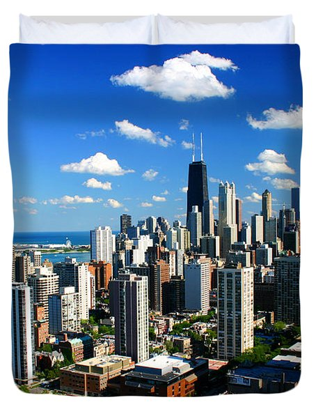 Chicago Buildings Skyline Clouds Duvet Cover