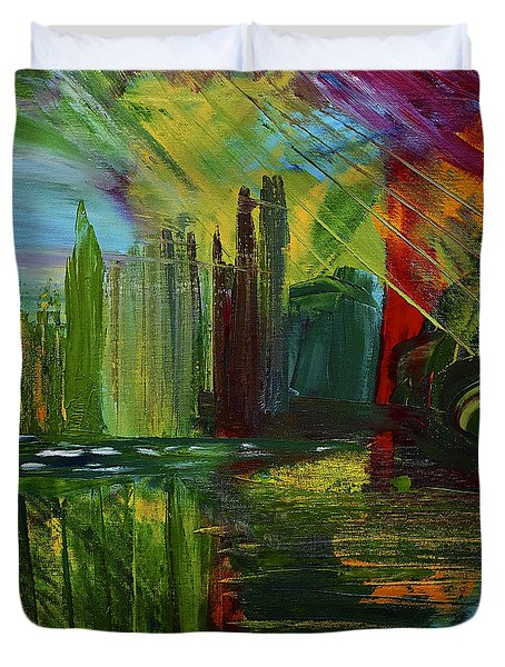 Chicago City Scape Duvet Cover by Dick Bourgault