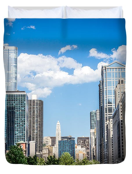 Chicago Cityscape Downtown Buildings Duvet Cover by Paul Velgos