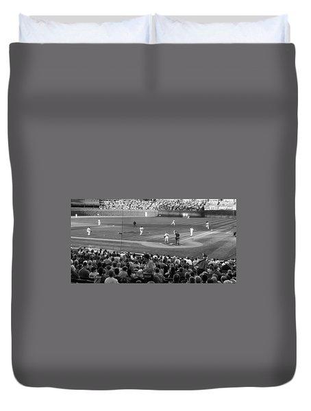 Chicago Cubs On The Defense Duvet Cover by Thomas Woolworth