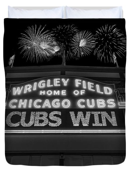 Chicago Cubs Win Fireworks Night B W Duvet Cover