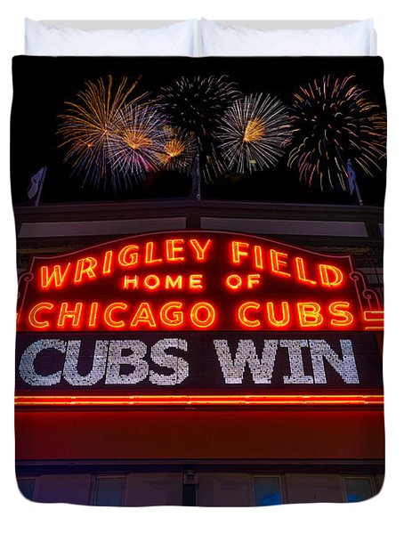 Chicago Cubs Win Fireworks Night Duvet Cover
