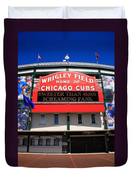 Chicago Cubs - Wrigley Field Duvet Cover by Frank Romeo