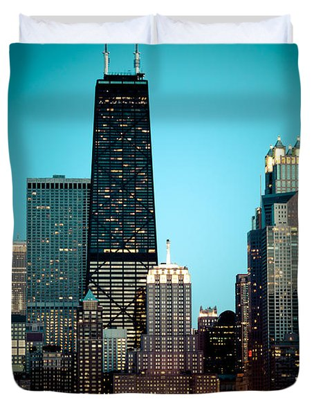 Chicago Downtown At Night With Hancock Building Duvet Cover by Paul Velgos