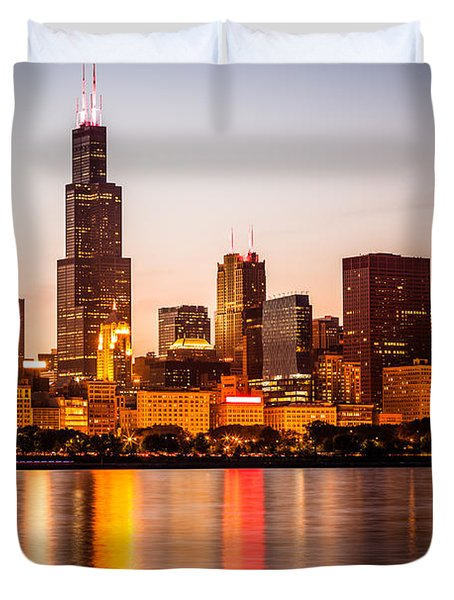 Chicago Downtown City Lakefront With Willis-sears Tower Duvet Cover