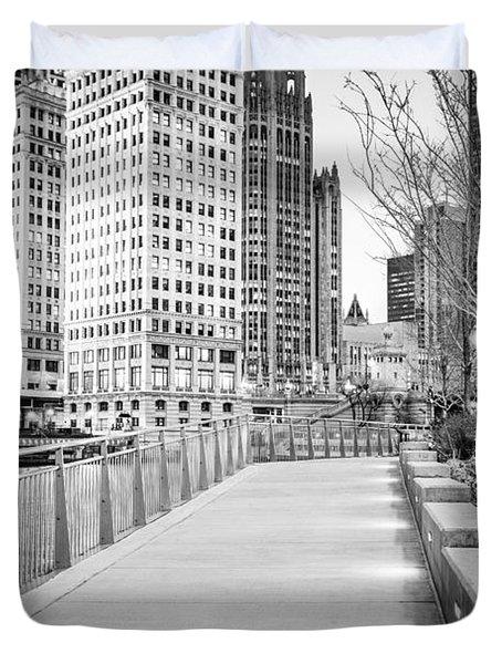 Chicago Downtown City Riverwalk Duvet Cover by Paul Velgos