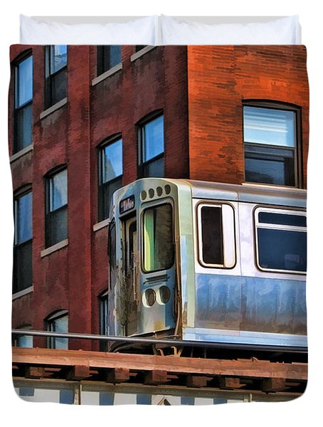 Chicago El And Warehouse Duvet Cover by Christopher Arndt