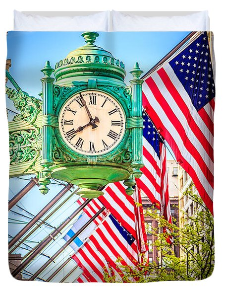 Chicago Great Clock On Macys Building Duvet Cover by Paul Velgos