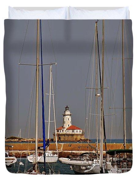 Chicago Harbor Lighthouse Illinois Duvet Cover by Christine Till
