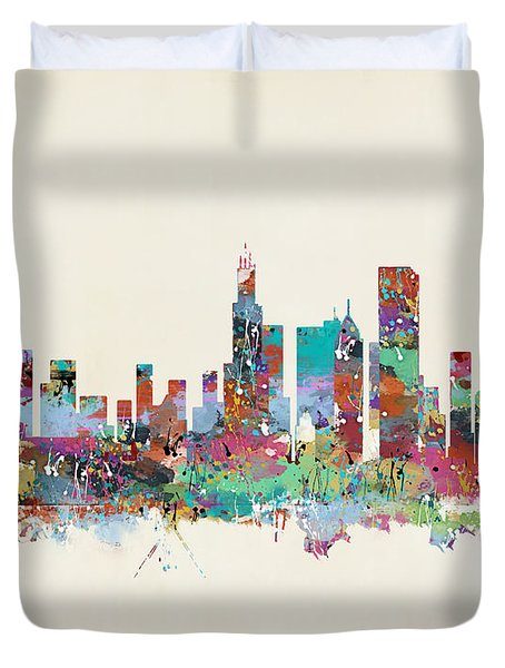 Chicago Illinois Skyline Duvet Cover by Bri B