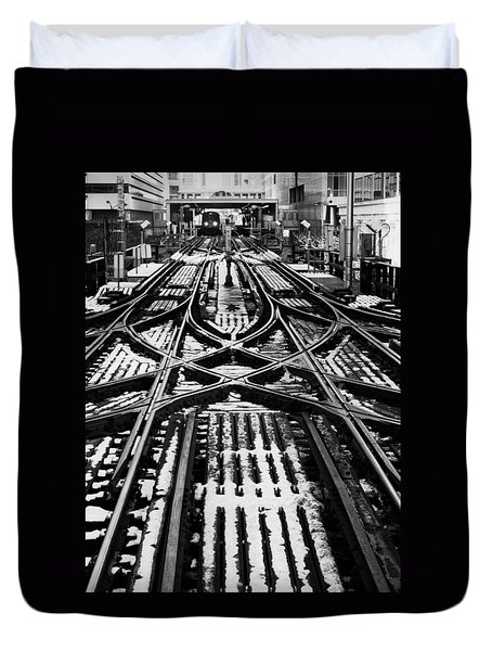 Duvet Cover featuring the photograph Chicago 'l' Tracks Winter by Kyle Hanson