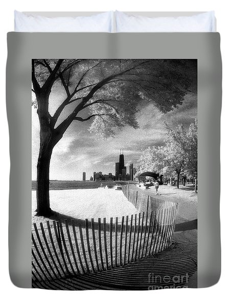 Duvet Cover featuring the photograph Chicago Lakefront Infrared by Martin Konopacki