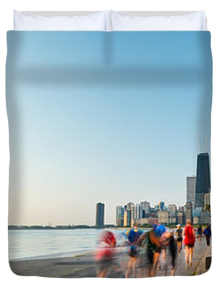 Chicago Lakefront Panorama Duvet Cover by Steve Gadomski