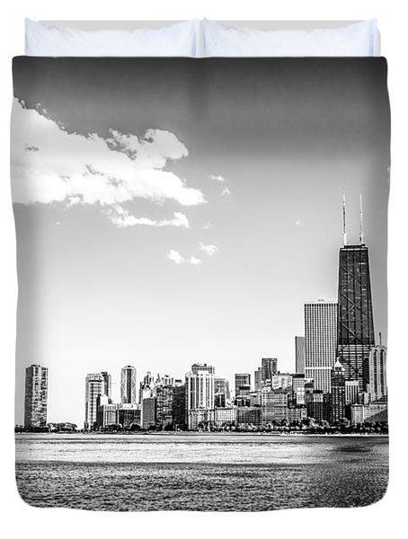 Chicago Lakefront Skyline Black And White Picture Duvet Cover by Paul Velgos