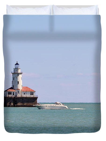 Chicago Light House With Boat In Lake Michigan Duvet Cover by Christine Till