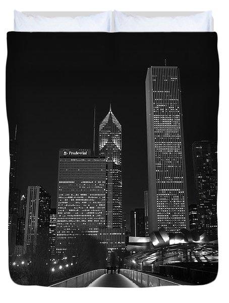 Chicago Lights B W Duvet Cover