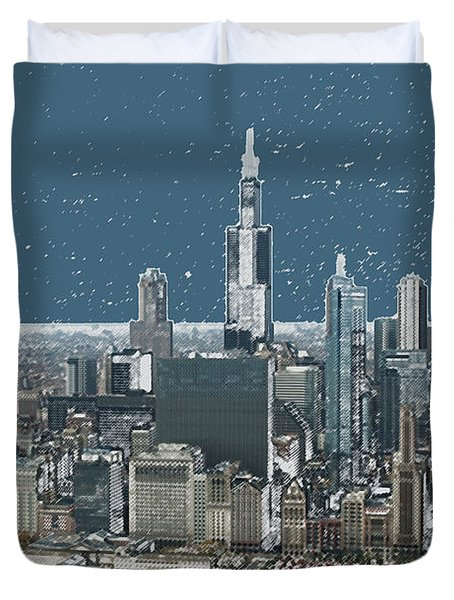 Chicago Looking West In A Snow Storm Digital Art Duvet Cover by Thomas Woolworth