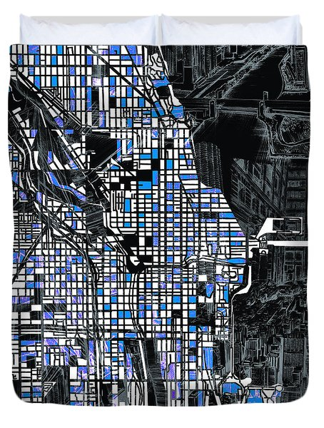 Chicago Map Drawing Collage 3 Duvet Cover