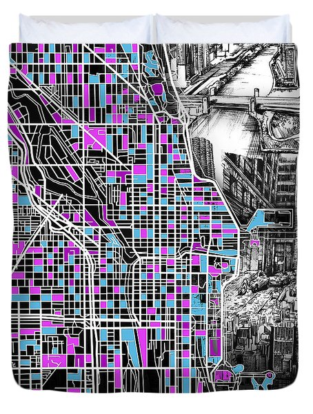 Chicago Map Drawing Collage 4 Duvet Cover