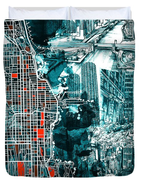 Chicago Map Drawing Collage Duvet Cover