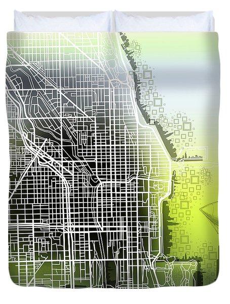 Chicago Map Gradient Duvet Cover