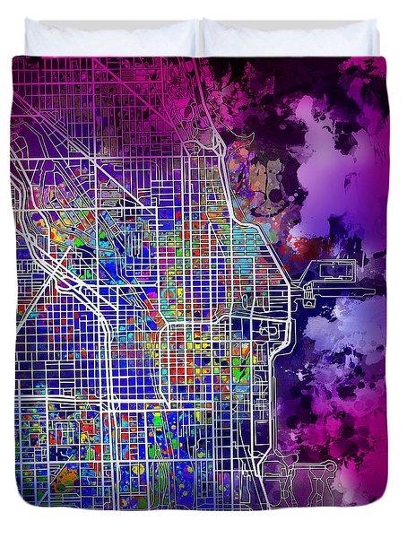 Chicago Map Purple Version Duvet Cover