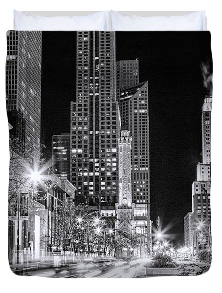 Chicago Michigan Avenue Light Streak Black And White Duvet Cover by Christopher Arndt