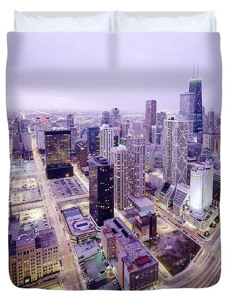 Chicago Night Duvet Cover by Jon Neidert