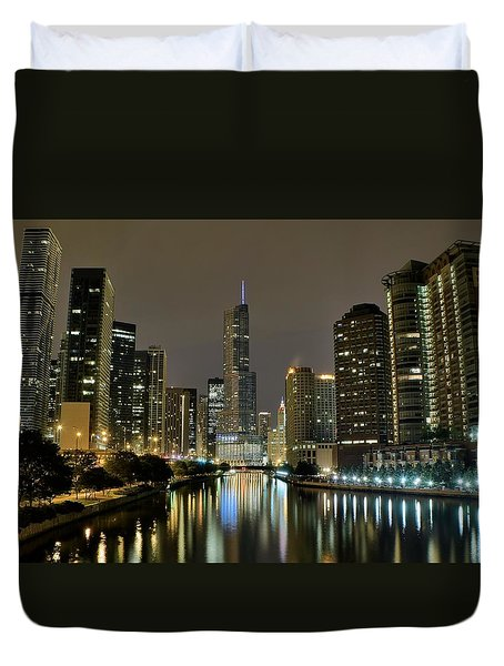 Chicago Night River View Duvet Cover by Frozen in Time Fine Art Photography