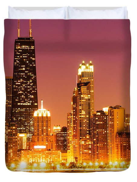 Chicago Night Skyline With John Hancock Building Duvet Cover by Paul Velgos