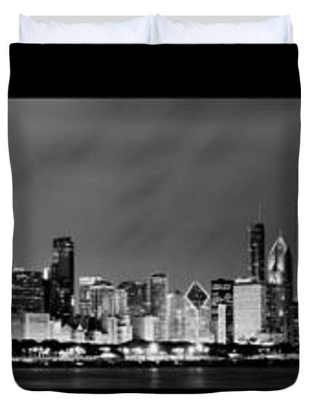 Chicago Panorama At Night Duvet Cover by Sebastian Musial