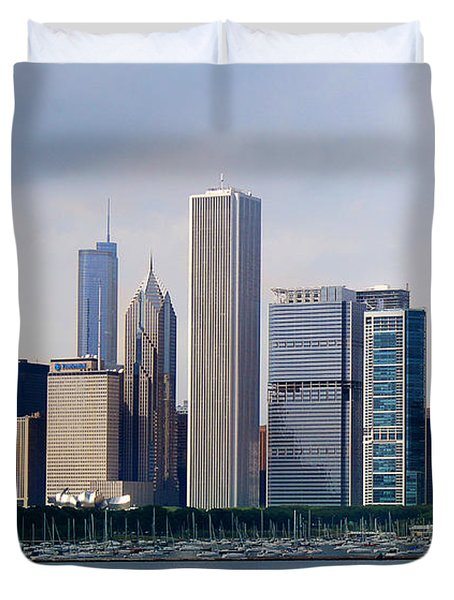 Chicago Panorama Duvet Cover by Milena Ilieva
