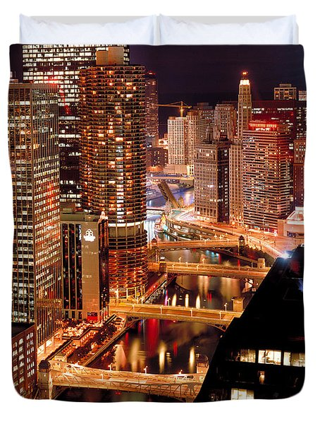 Chicago River At Night Duvet Cover by Thomas Firak