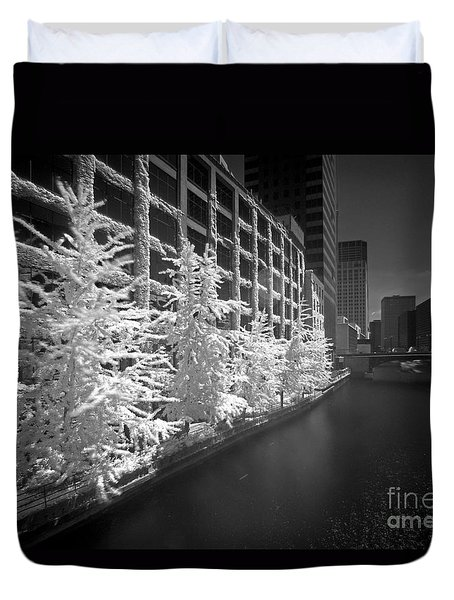 Duvet Cover featuring the photograph Chicago River Infrared by Martin Konopacki