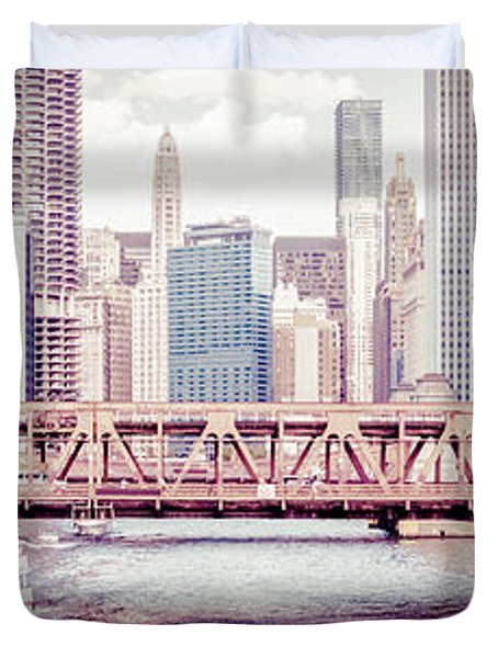 Chicago River Skyline Vintage Panorama Picture Duvet Cover by Paul Velgos