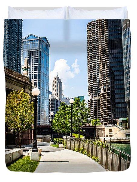 Chicago Riverwalk Picture Duvet Cover by Paul Velgos