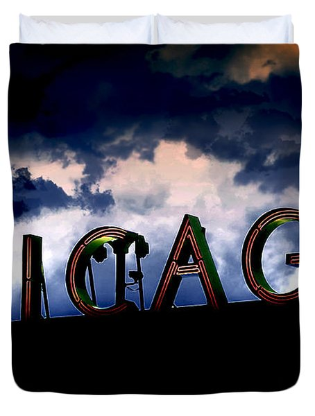 Chicago Sign Sunset Duvet Cover by Kristie  Bonnewell