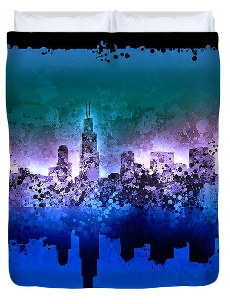 Chicago Skyline Abstract 2 Duvet Cover