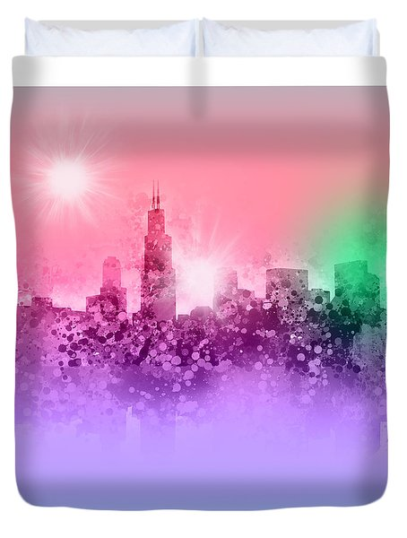 Chicago Skyline Abstract 3 Duvet Cover