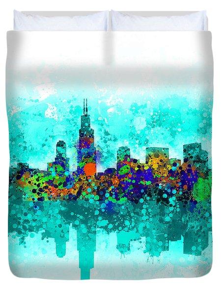 Chicago Skyline Abstract Duvet Cover