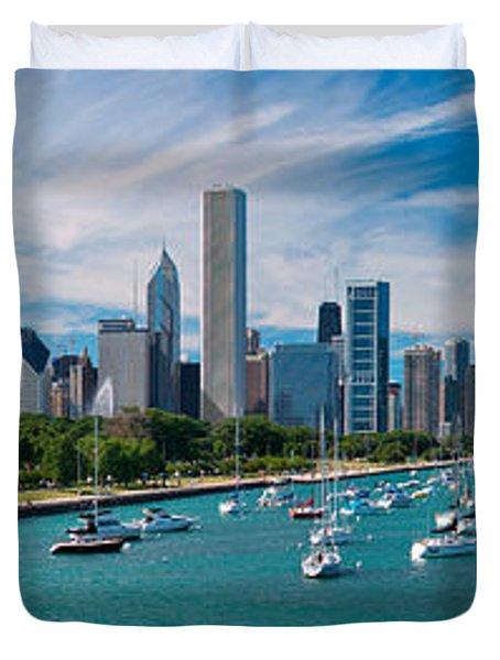 Chicago Skyline Daytime Panoramic Duvet Cover by Adam Romanowicz