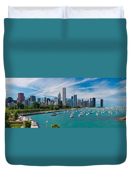 Chicago Skyline Daytime Panoramic Duvet Cover
