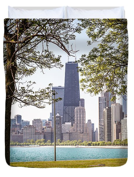 Chicago Skyline And Hancock Building Through Trees Duvet Cover by Paul Velgos