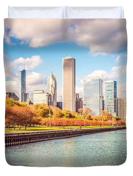 Chicago Skyline And Lake Michigan Photo Duvet Cover by Paul Velgos