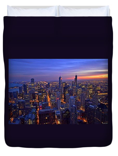 Chicago Skyline At Dusk From John Hancock Signature Lounge Duvet Cover by Jeff at JSJ Photography