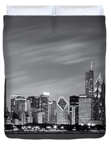Chicago Skyline At Night Black And White Panoramic Duvet Cover by Adam Romanowicz