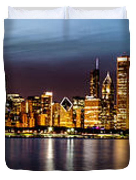 Chicago Skyline At Night Panoramic Duvet Cover